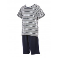 Short Jersey Lounge Stripy Grey