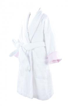 Towel Bathrobe Pink Stripe Cuff