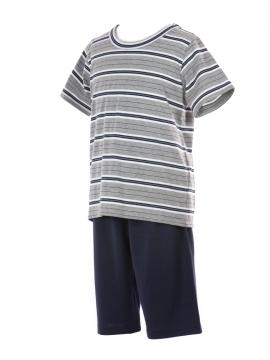 Short Jersey Lounge Stripy Grey